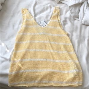 Zara yellow knit striped tank